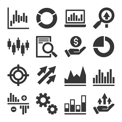 Stock Market Trading Icons Set Vector Stock Illustration - Download Image Now