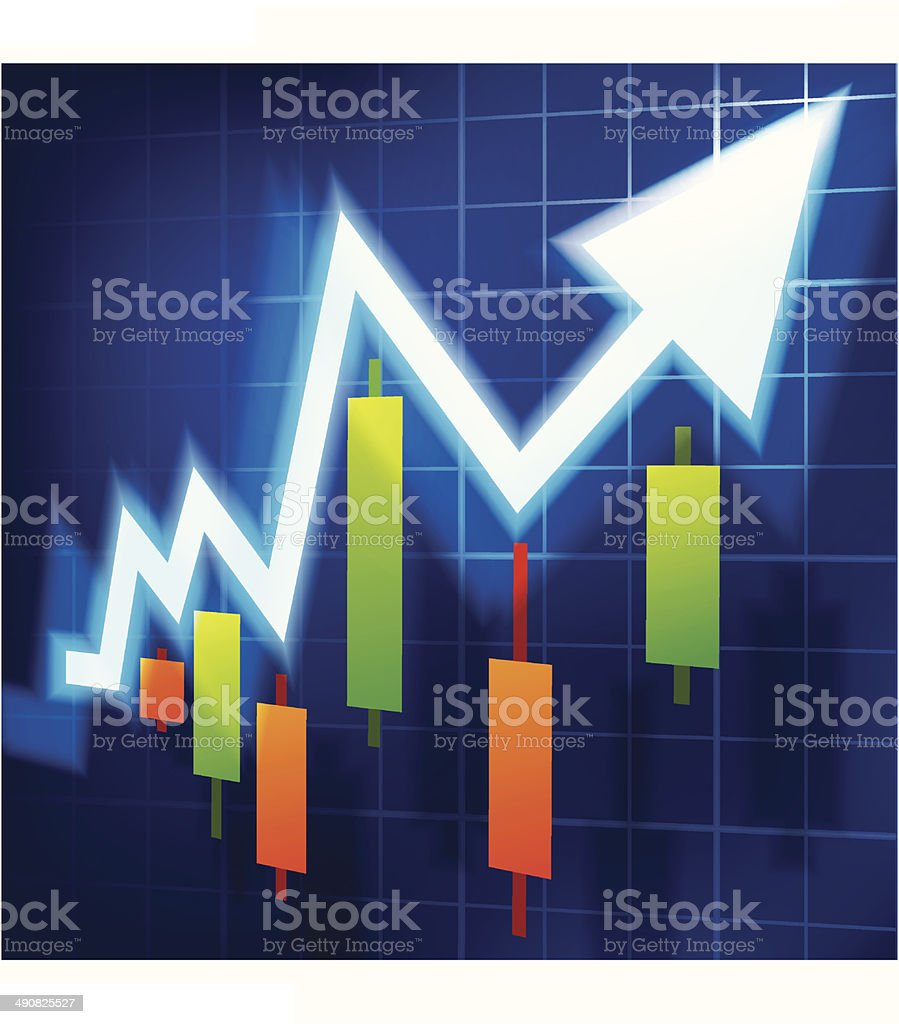 Stock market, up trend vector art illustration