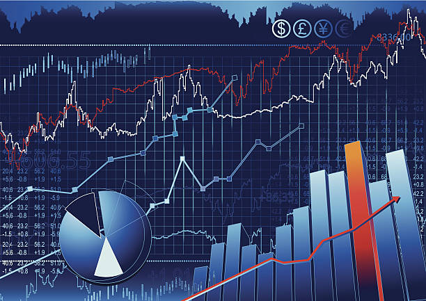 Stock Market Stock & share, A similation of Stock Currency Background. wall street stock illustrations