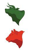 Stock Market icons. Bull and bear illustrations.