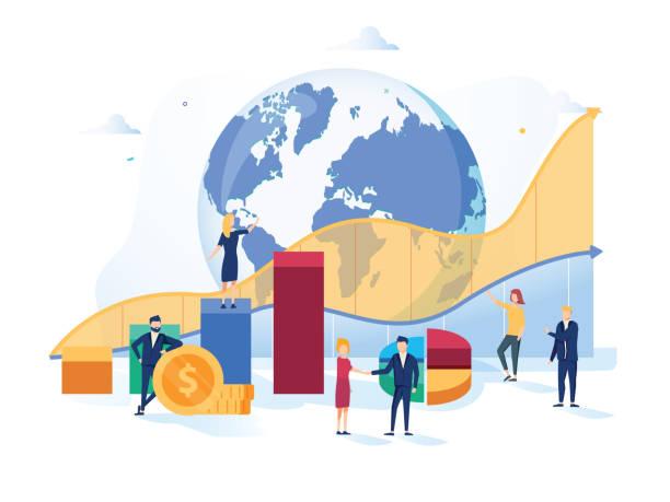 ilustrações, clipart, desenhos animados e ícones de ilustração do vetor de mercado de ações. conceito de pessoas crescimento liso mini dinheiro com indicadores positivos e sucesso globais - economia