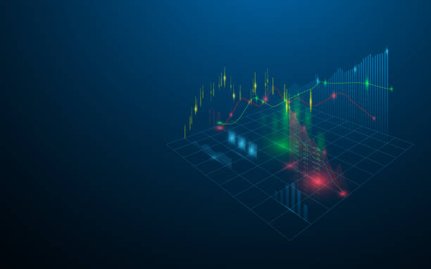 stock market virtual hologram of statistics, graph and chart on dark blue background - handlować stock illustrations