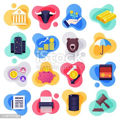 Stock market volatility and learning liquid flat flow style concept symbols. Flat design vector icons set for infographics, mobile and web designs.