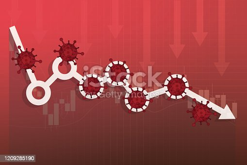 Stock Markets plunge from novel COVID-19 virus fear, world investment price fall down or collapse from outbreak of Coronavirus, stock market graph and chart equity price fall down from Virus pathogen impact.