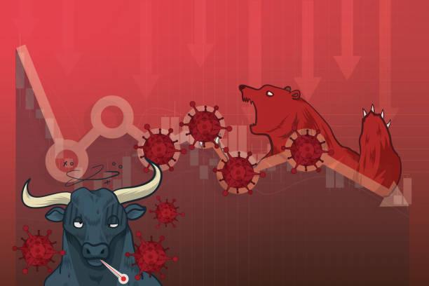 aktienmärkte stürzen von neuartigen covid-19 virus angst, welt-investitionspreis fallen oder kollabieren nach ausbruch von coronavirus, börsendiagramm und chart-aktienkurs fallen nach virus pathogen auswirkungen - splash grafiken stock-grafiken, -clipart, -cartoons und -symbole