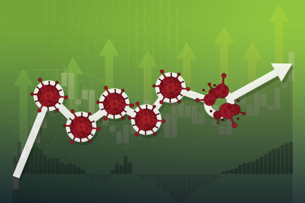 stockillustraties, clipart, cartoons en iconen met aandelenmarkten rebound van covid-19 virus worden verslagen, wereld investeringen prijsstijging omhoog of hersteld sinds pandemie van coronavirus, beursgrafiek en grafiek aandelenkoers omhoog van toegestane ontgrendeling - bullmarkt