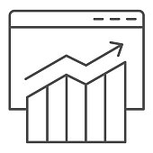 Stock price broker window thin line icon. Browser with statistic diagram on monitor. Multimedia vector design concept, outline style pictogram on white background, use for web and app. Eps 10