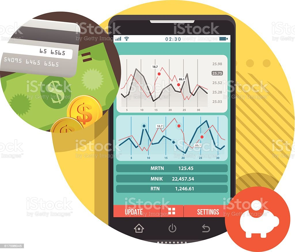 Stock report on smartphone vector art illustration