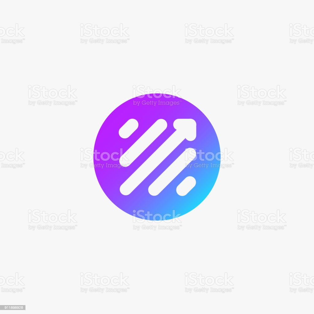 Stock Trade Icon, Scale Up Sign or Application Icon. Scale Arrow in circle symbol, color background vector illustration. vector art illustration