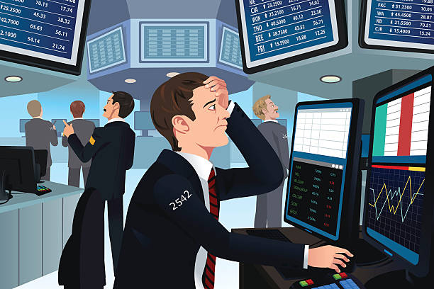 株式トレーダーでストレス解消 - 株式仲買人点のイラスト素材/クリップアート素材/マンガ素材/アイコン素材