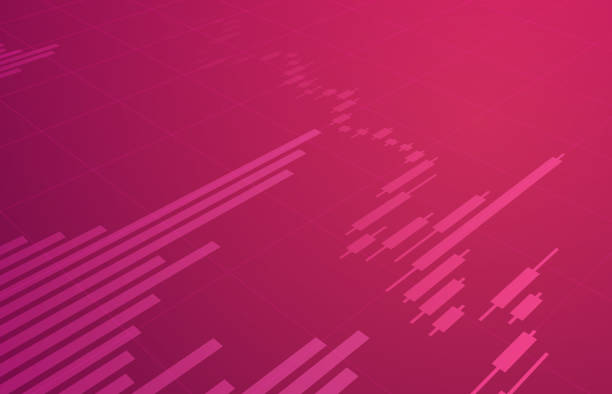 illustrazioni stock, clip art, cartoni animati e icone di tendenza di stock trading chart background - magenta