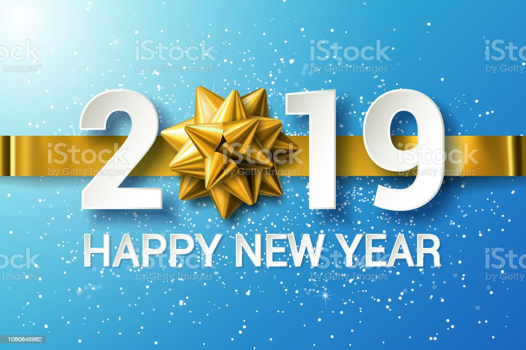 stock vector 2019 happy new year background with golden gift bow and ribbon royalty