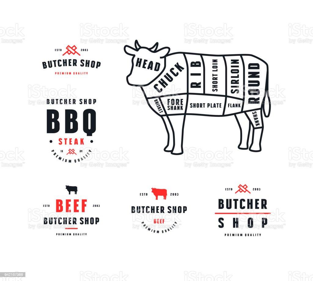 Vector stock boeuf morceaux diagramme et étiquette pour boucherie - Illustration vectorielle