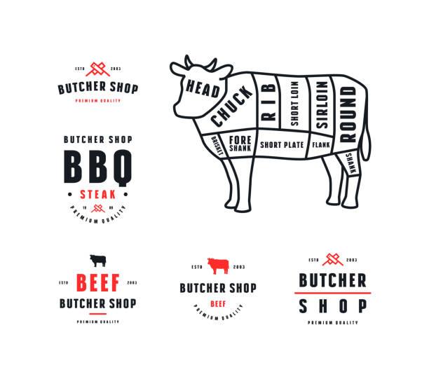 bildbanksillustrationer, clip art samt tecknat material och ikoner med lager vektor nötkött skär diagram och etikett för köttaffär - loin