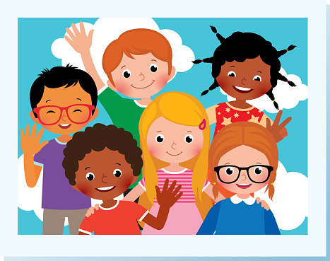 Stock Vector Cartoon Illustration Photo Group Of Happy Children Of  Different Nationalities In The Summer Camp Stock Illustration - Download  Image Now - iStock