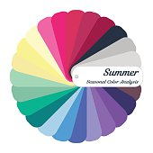 Stock vector color guide. Seasonal color analysis palette for summer  type