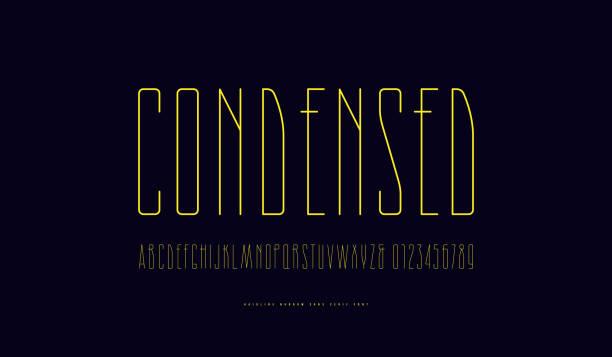 stock vector condensed sans serif font - thin line fonts stock illustrations