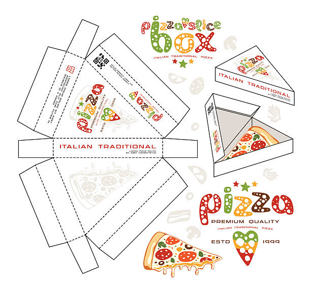 stock vector design of boxes for pizza slice - thin line fonts stock illustrations