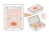 Stock vector design of rectangular box for pizza slices