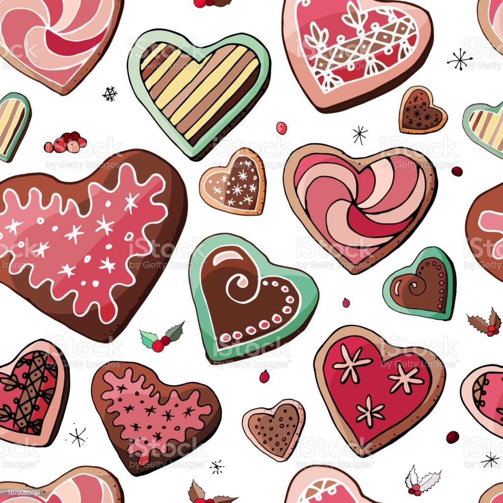 Christmas Heart Vector.Stock Vector Endless Pattern From Different Colorful