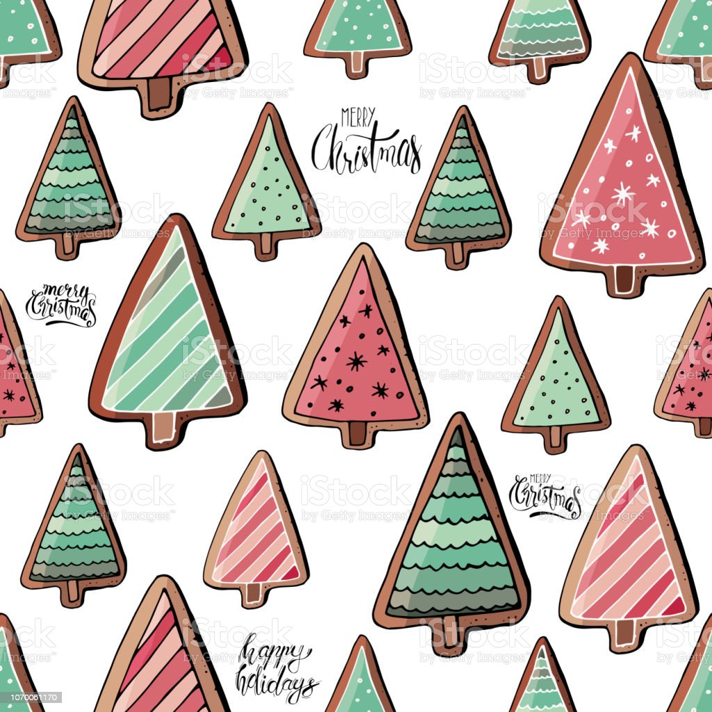 Stock Vector Endless Pattern From Green And Pink Christmas Tree Cookies And Gingerbreads With Decoration And Greeting Lettering Stock Illustration Download Image Now Istock