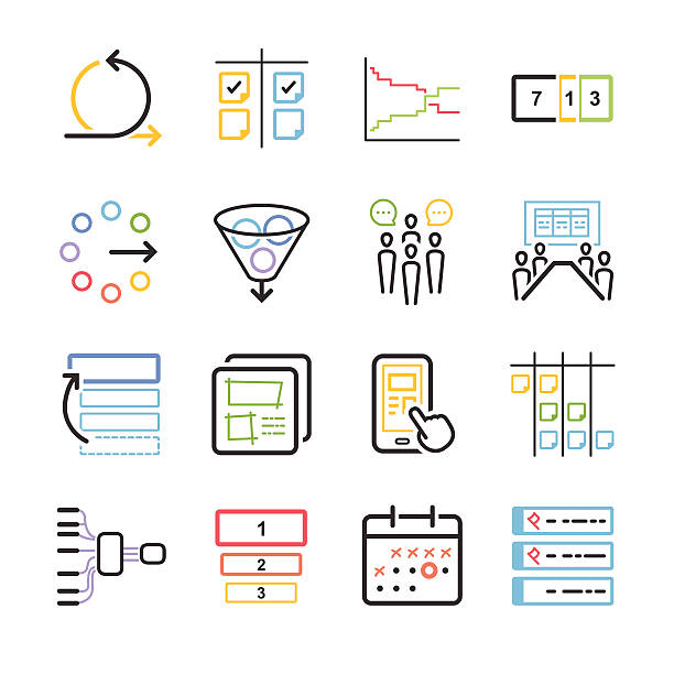 Stock Vector Illustration: Agile icon set vector art illustration