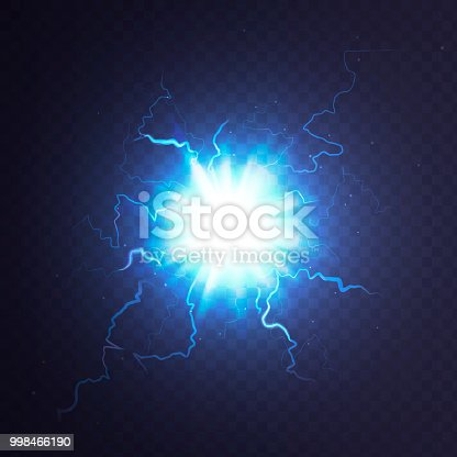 Stock vector illustration ball lightning a transparent background. Abstract plasma sphere. Electric discharge EPS 10