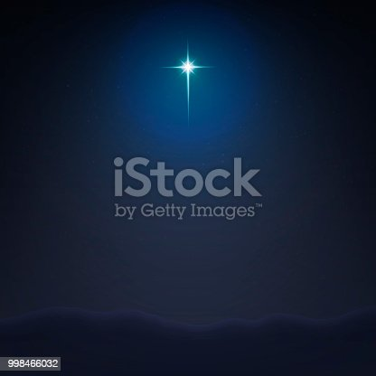 Stock vector illustration Bethlehem Star minimalistic background. The Birth of Jesus Christ. EPS 10