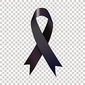 Stock vector illustration black awareness ribbon
