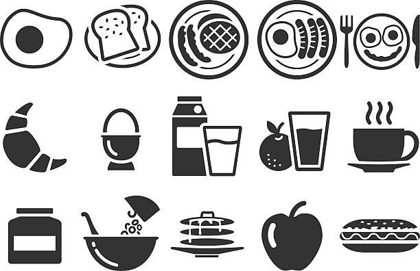 illustrazioni stock, clip art, cartoni animati e icone di tendenza di illustrazione stock vettoriale: icone di colazione - fruit juice bottle isolated