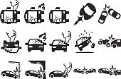 Stock Vector Illustration: Car crash icons