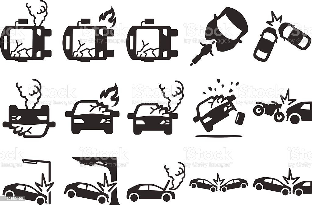 Ilustración vectorial de Stock: Car crash iconos - ilustración de arte vectorial