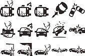 Stock Vector Illustration: Car crash icons