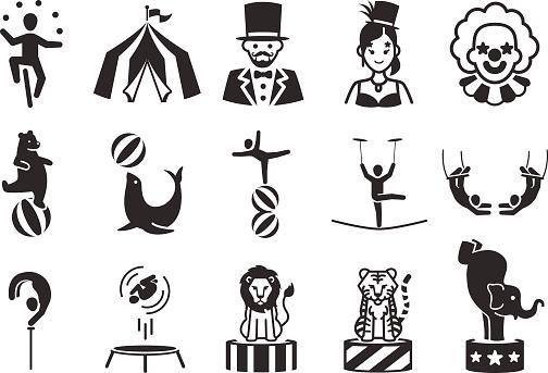 Stock Vector Illustration: Circus icons set 1