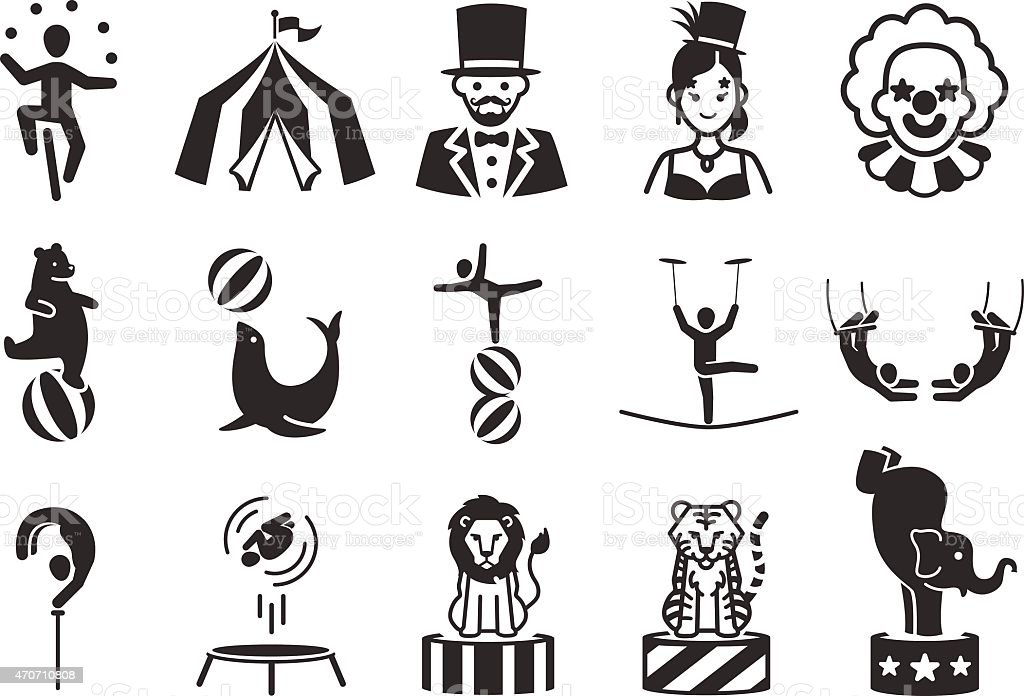 Stock Vector Illustration: Circus icons set 1 vector art illustration