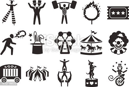 Circus and festival icons set