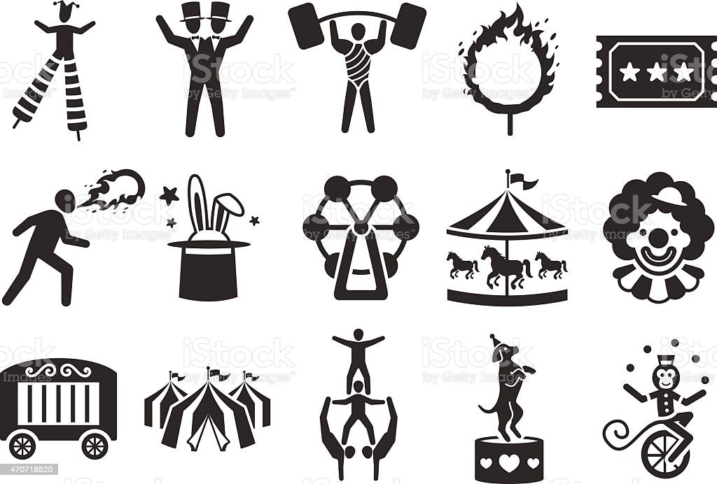 Stock Vector Illustration: Circus icons set 2 vector art illustration