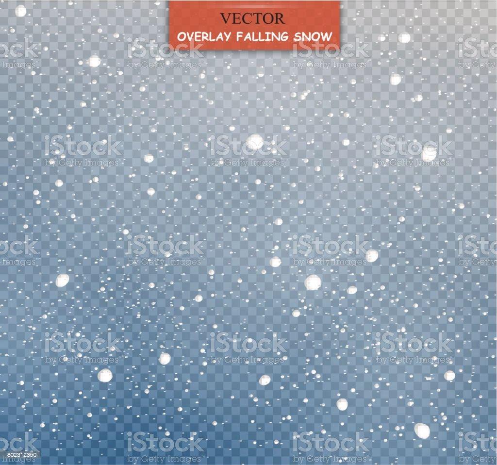 Nieve caída de stock vector ilustración. Copos de nieve, nevadas. Fondo transparente. Caída de nieve - ilustración de arte vectorial