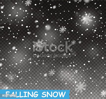 Stock vector illustration falling snow. Snowflakes, snowfall. Transparent background. Fall of snow. EPS 10