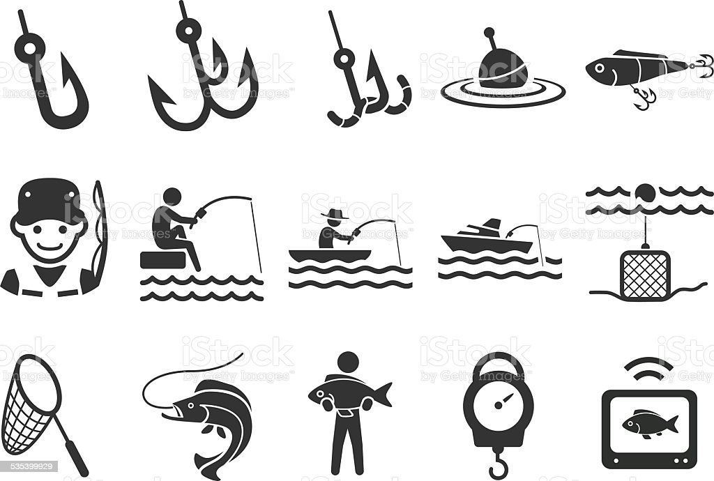 Stock-Illustration: Angeln Symbole – Vektorgrafik