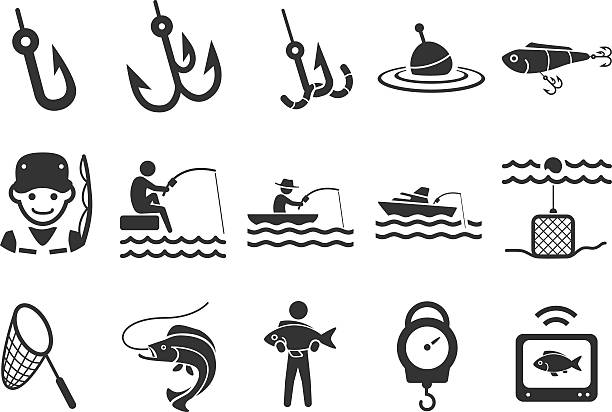 Stock Vector Illustration: Fishing icons Stock Vector Illustration: Fishing icons fishing bait stock illustrations