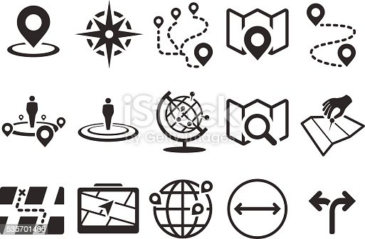 Stock Vector Illustration: Map icons