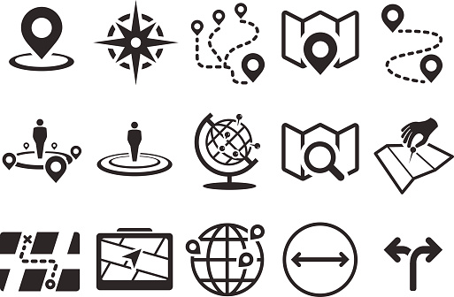 Стоковая Векторная Иллюстрация Карта Значки — стоковая векторная графика и другие изображения на тему 2015