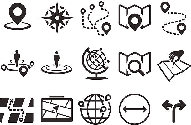 Stock Vector Illustration: Map icons Stock Vector Illustration: Map icons navigational equipment stock illustrations