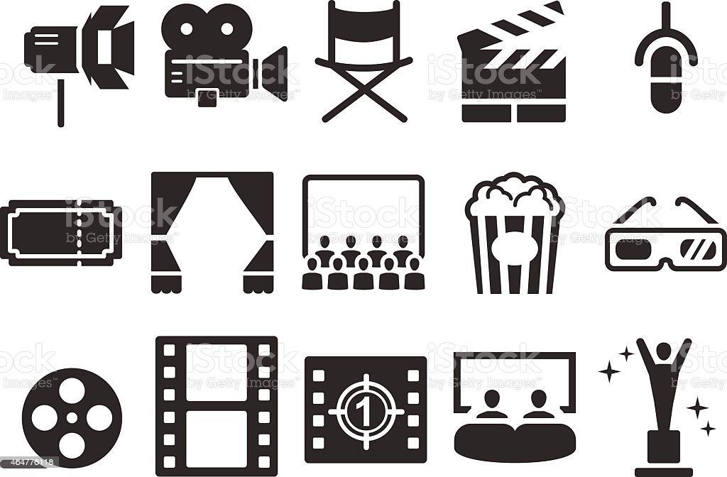 Stock Vector Illustration: Movies icons vector art illustration