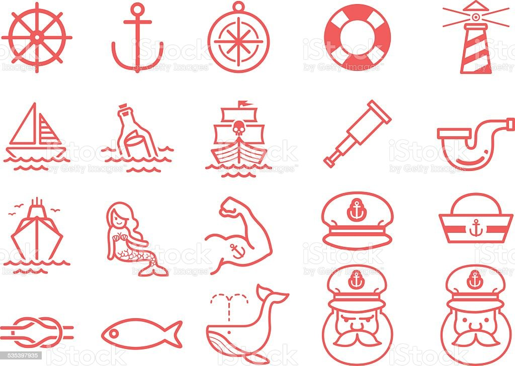 Stock Vector Illustration: Nautical icons vector art illustration