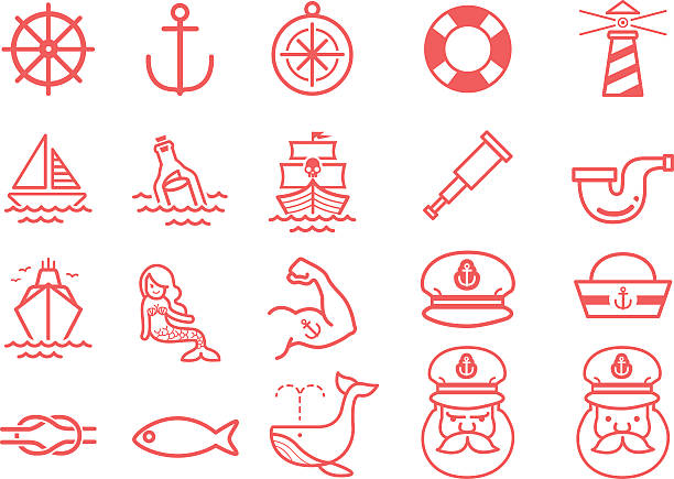 Stock Vector Illustration: Nautical icons Stock Vector Illustration: Nautical icons seyahat noktaları illustrationsları stock illustrations