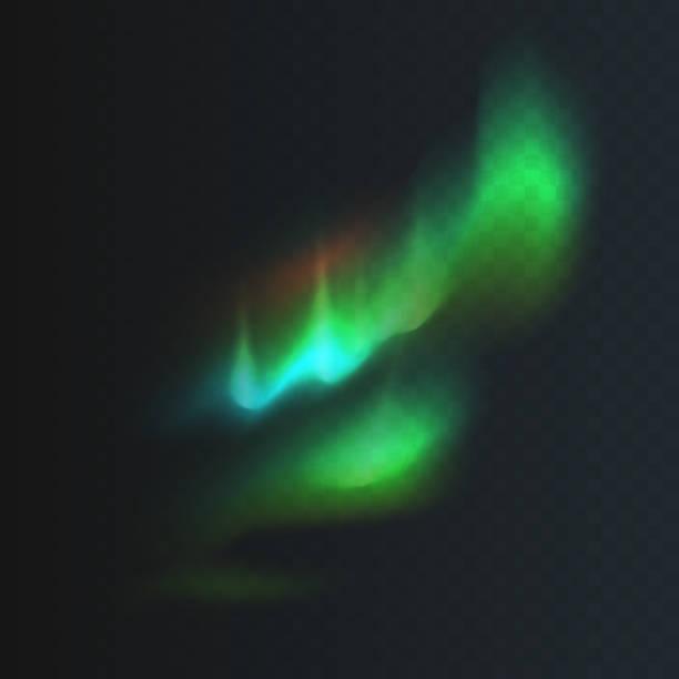 bildbanksillustrationer, clip art samt tecknat material och ikoner med lager vektorillustration norra och polar lights isolerade på en transparent rutig bakgrund. magnetiska stormar. aurora borealis. eps 10 - northern lights