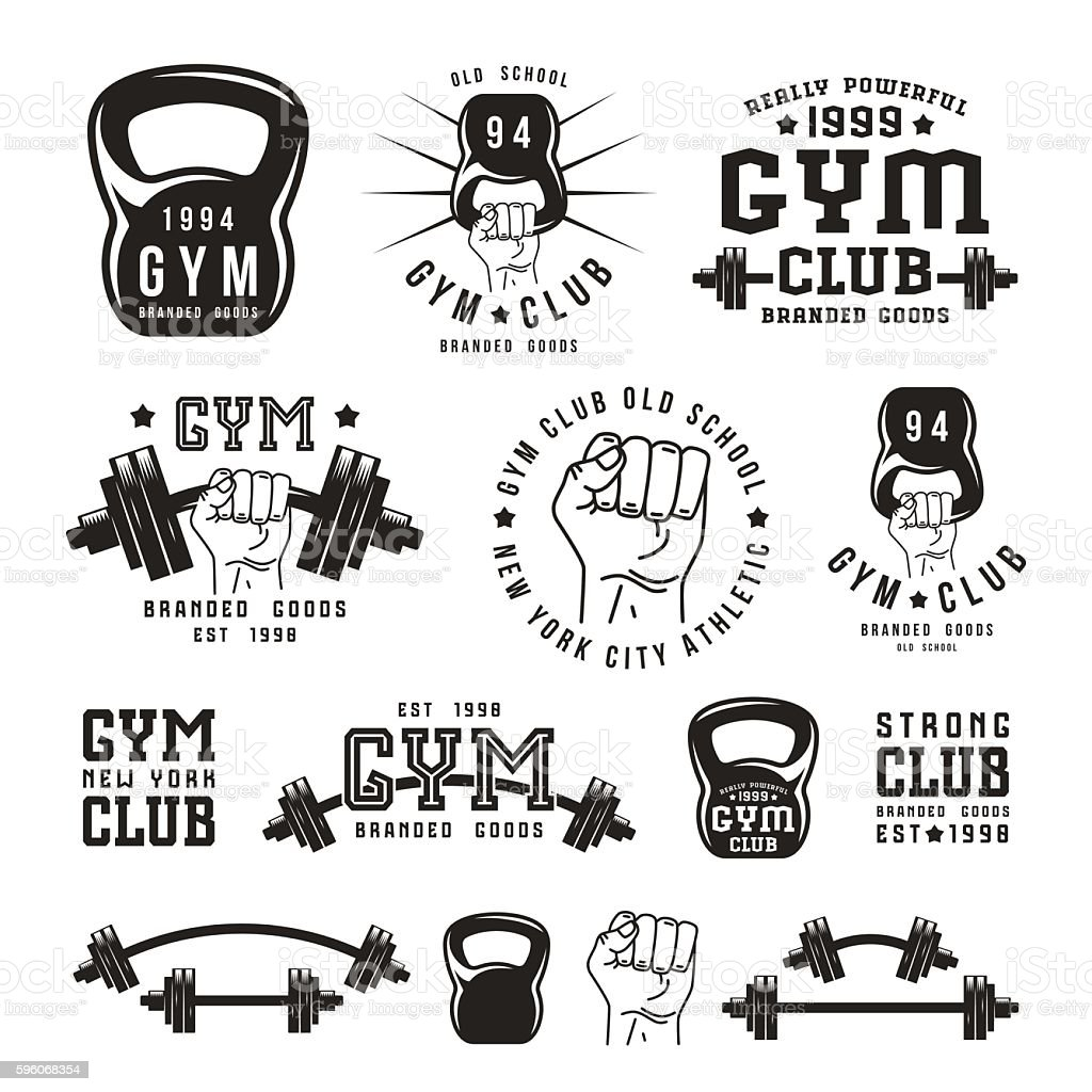 Stock vector Illustration of gym club emblem - ilustración de arte vectorial