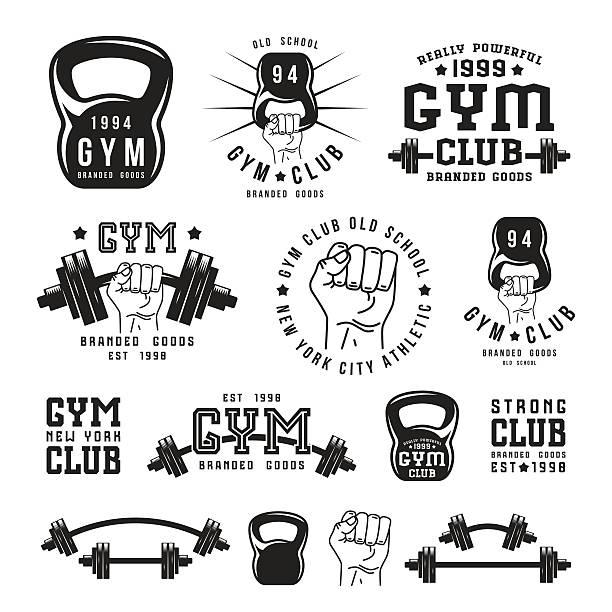 Stock vector Illustration of gym club emblem vector art illustration